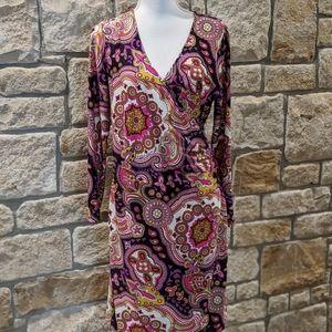 Jude Connally Faux Wrap Dress, Pink, Size Medium